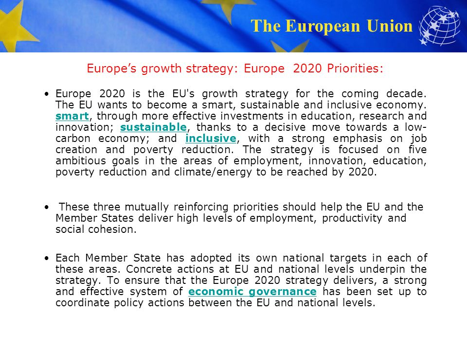 Europe's growth strategy: Europe 2020 Priorities: