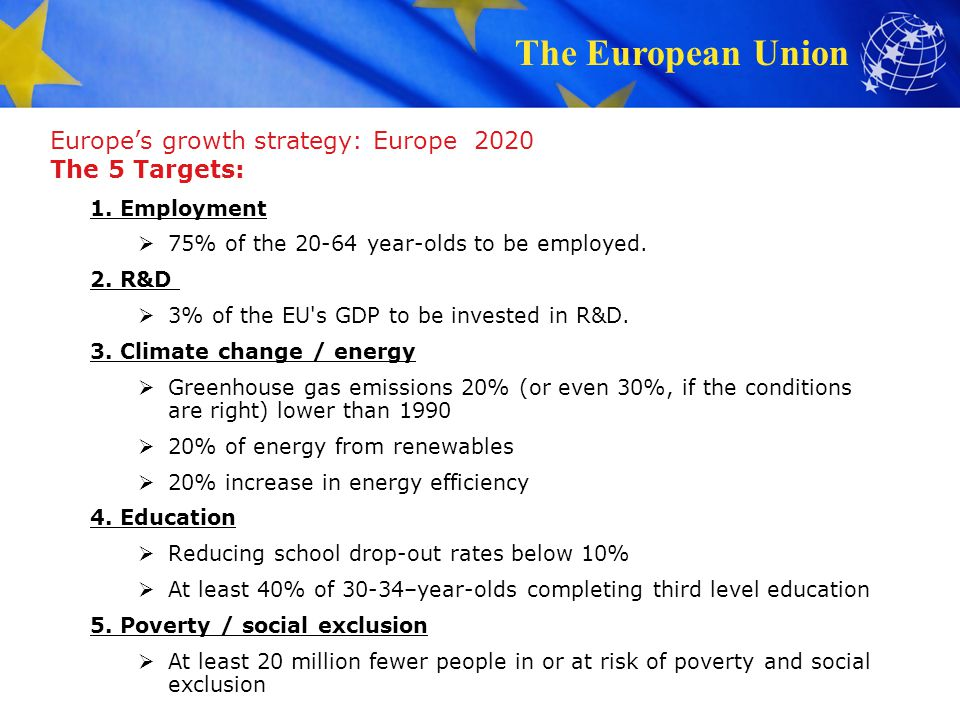 Europe's growth strategy: Europe 2020 The 5 Targets: