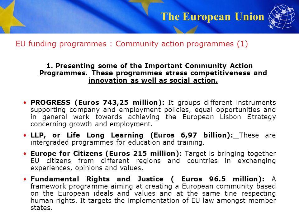 EU funding programmes : Community action programmes (1)