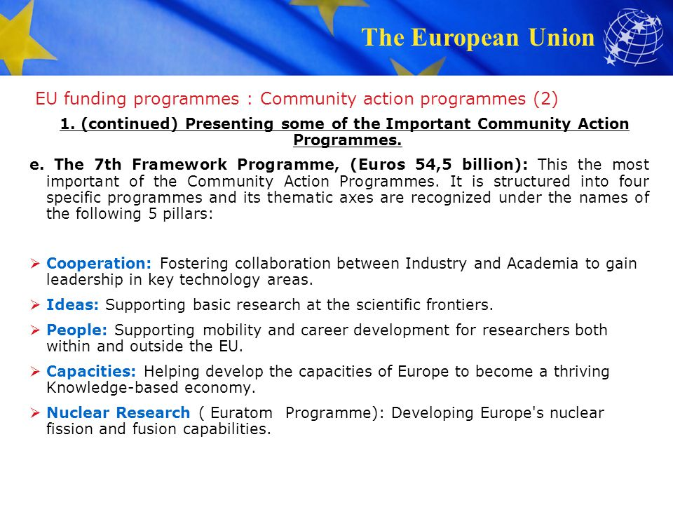 EU funding programmes : Community action programmes (2)