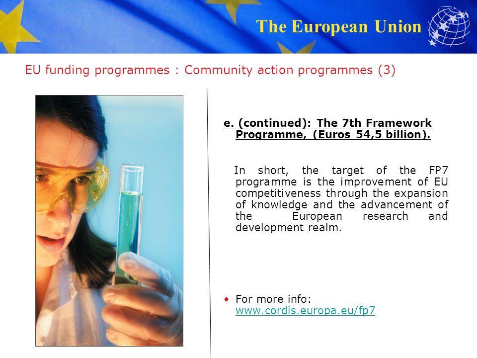 EU funding programmes : Community action programmes (3)