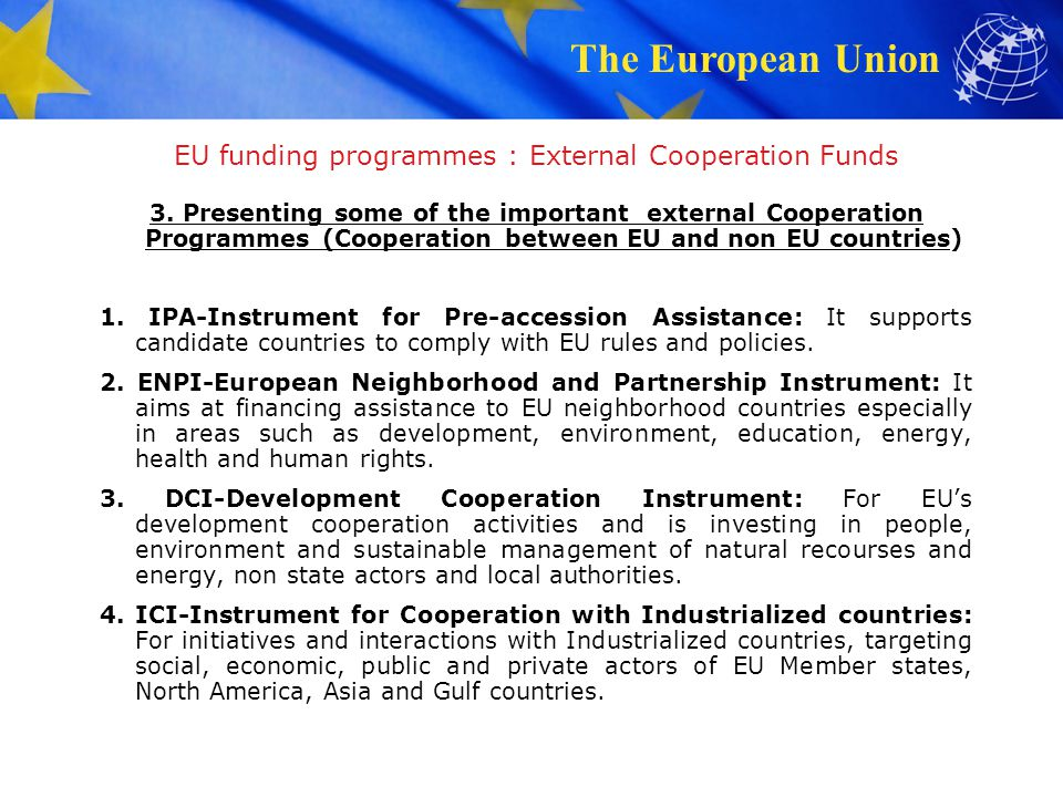EU funding programmes : External Cooperation Funds