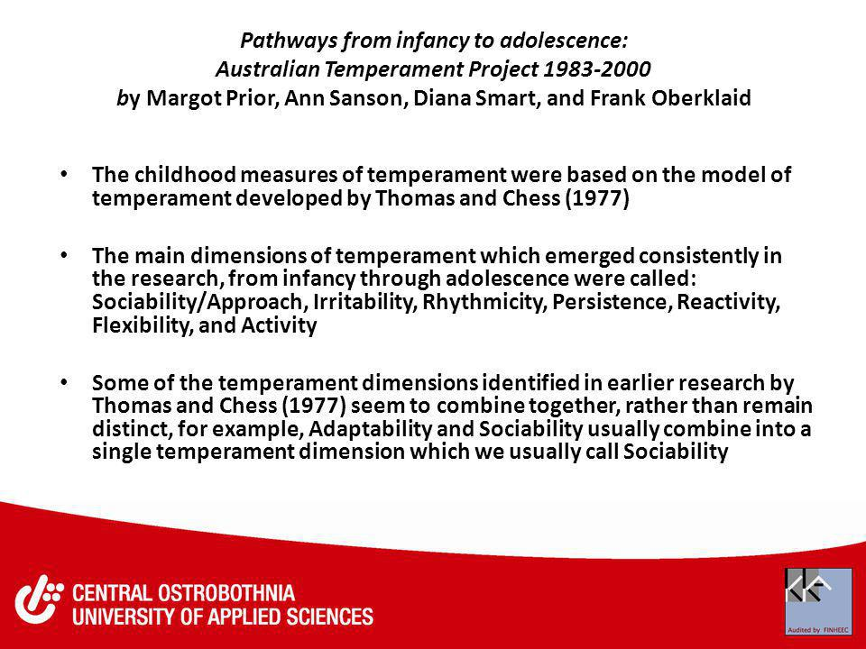 Pathways from infancy to adolescence: Australian Temperament Project 1983-2000 by Margot Prior, Ann Sanson, Diana Smart, and Frank Oberklaid