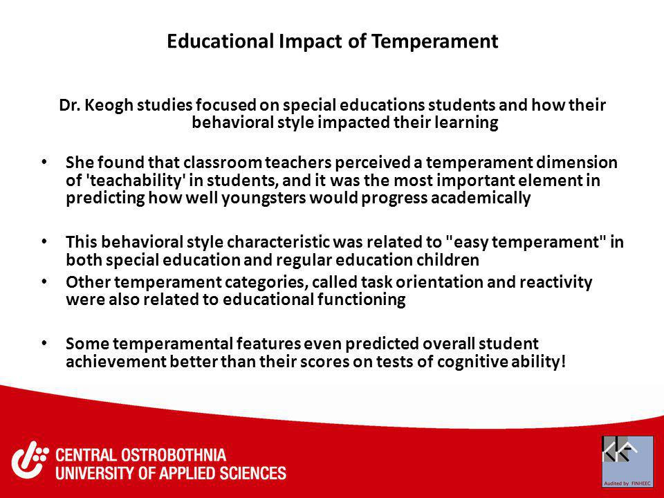 Educational Impact of Temperament