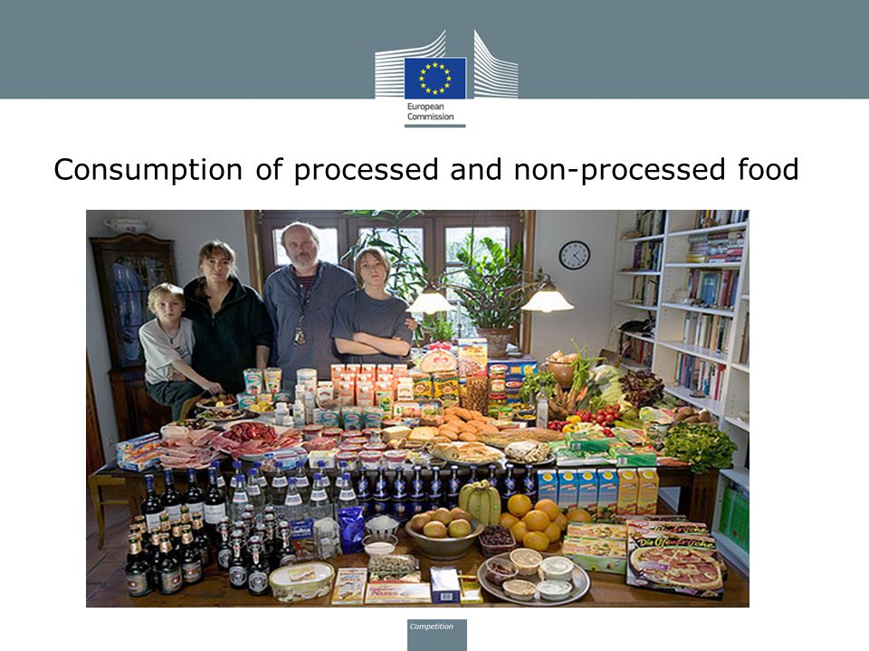 Consumption of processed and non-processed food