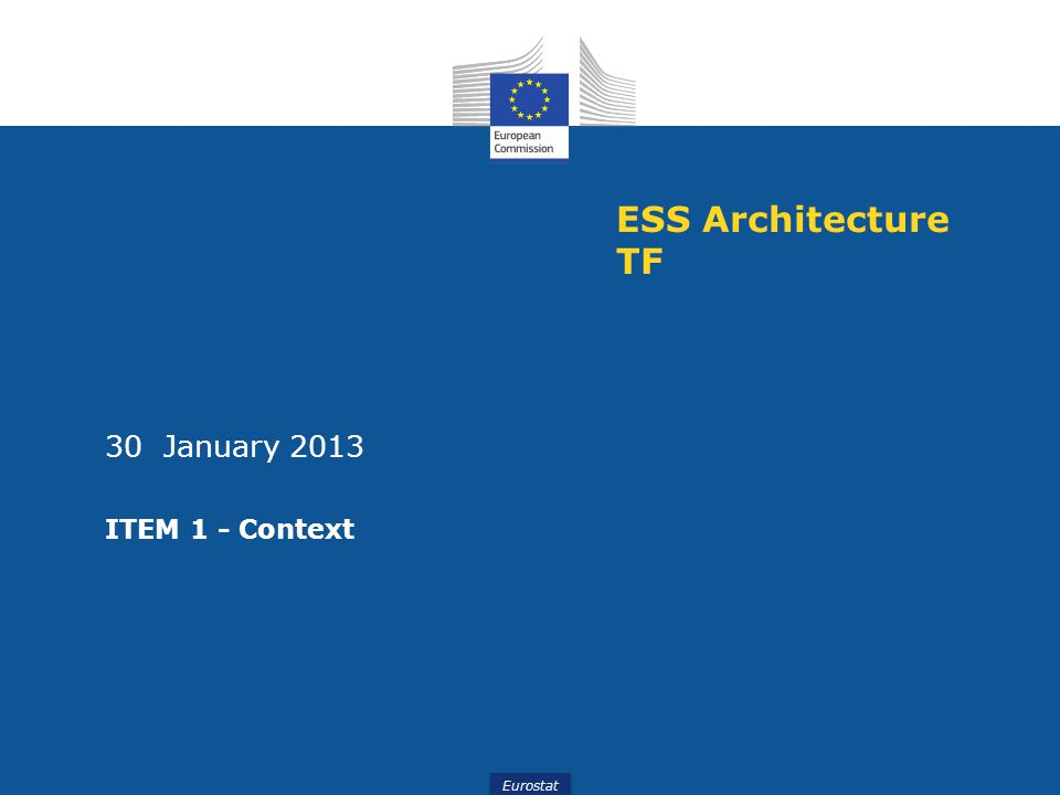 ESS Architecture TF 30 January 2013 ITEM 1 - Context