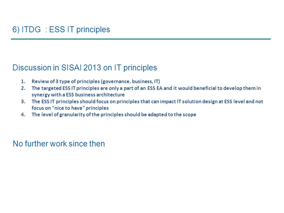 6) ITDG : ESS IT principles