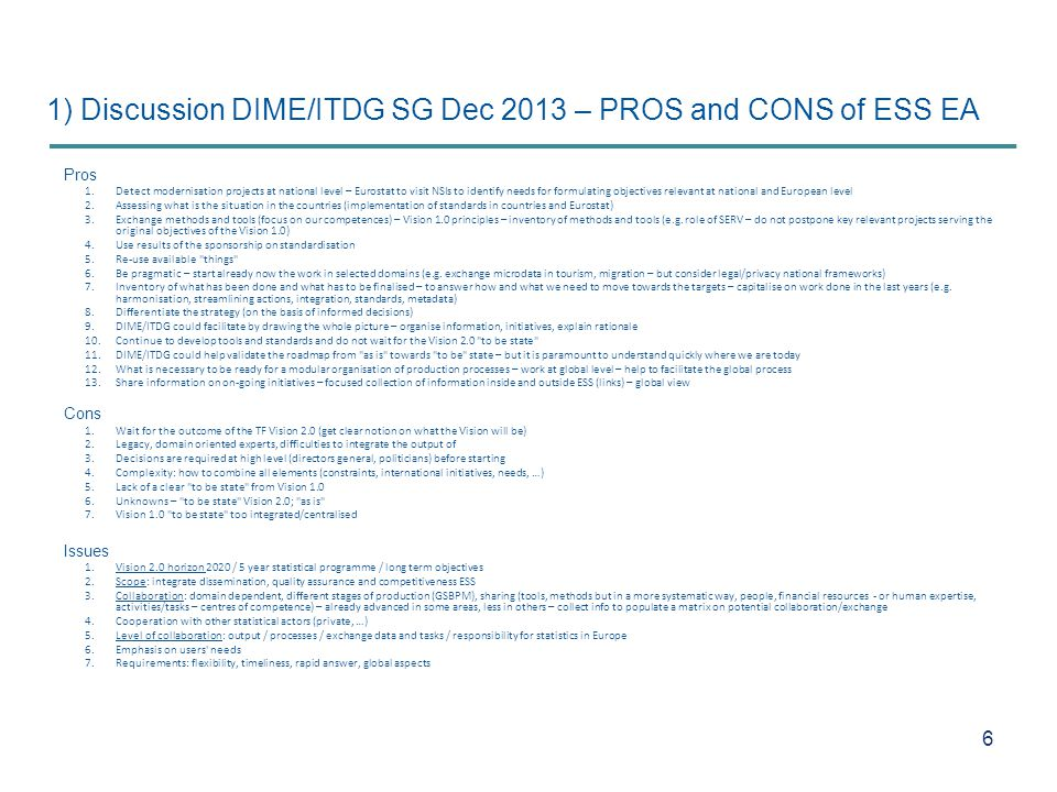 1) Discussion DIME/ITDG SG Dec 2013 – PROS and CONS of ESS EA