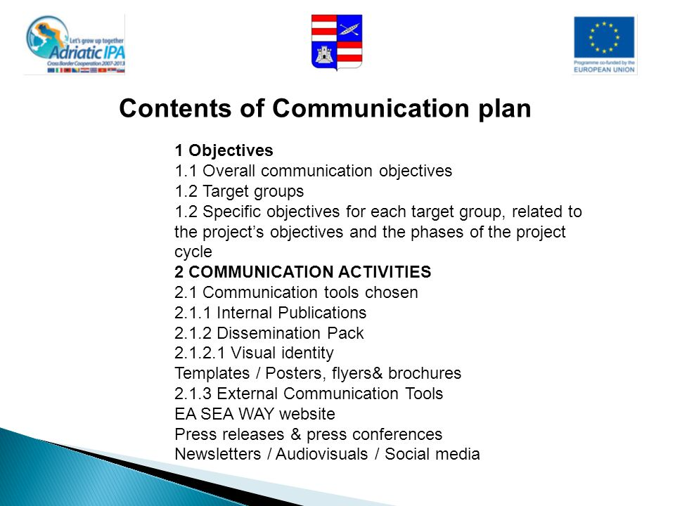 Contents of Communication plan