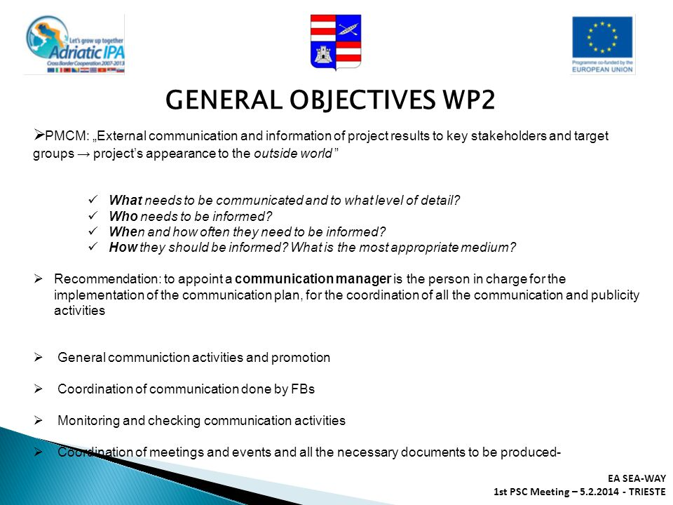 GENERAL OBJECTIVES WP2