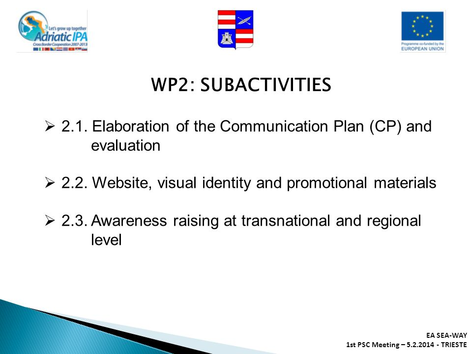 WP2: SUBACTIVITIES 2.1. Elaboration of the Communication Plan (CP) and evaluation. 2.2. Website, visual identity and promotional materials.