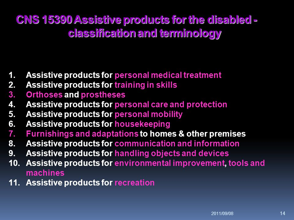 CNS 15390 Assistive products for the disabled - classification and terminology