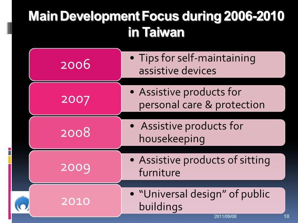 Main Development Focus during 2006-2010 in Taiwan
