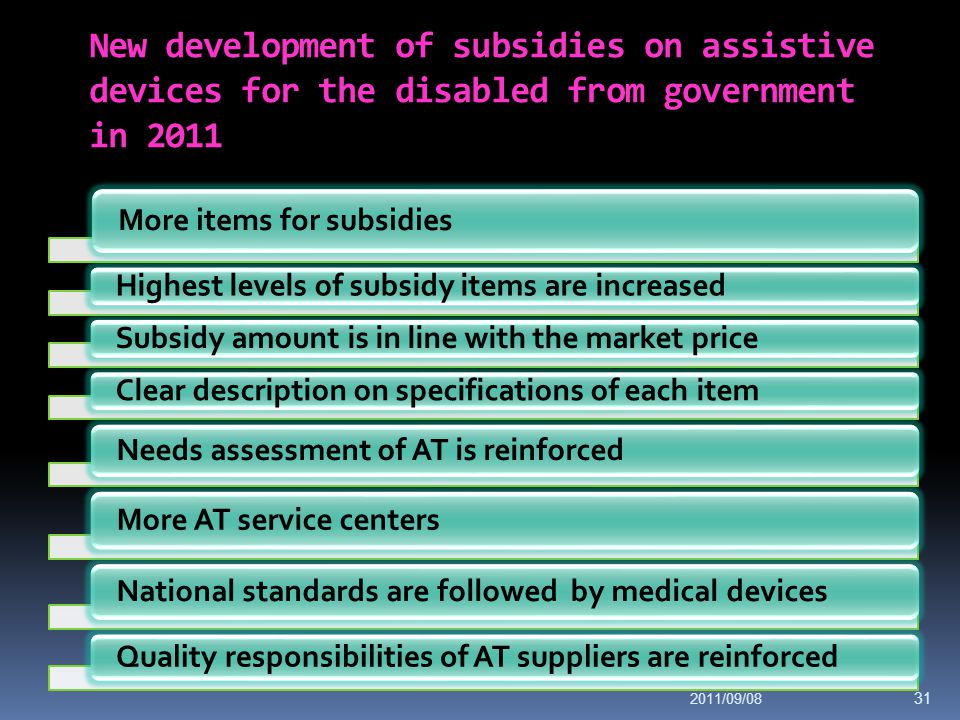 New development of subsidies on assistive devices for the disabled from government in 2011