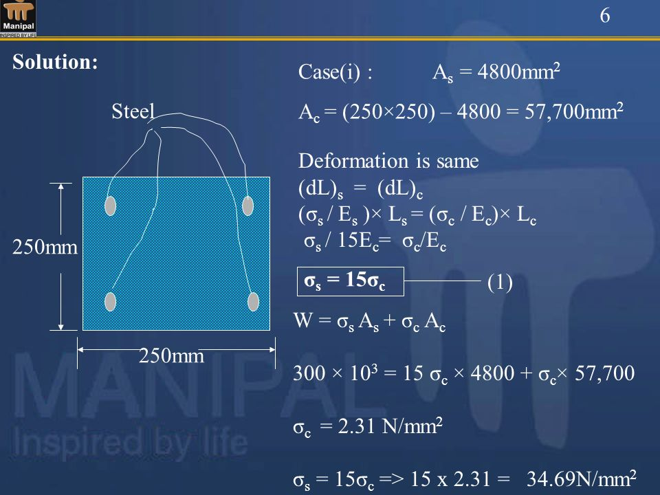 6 Solution: Case(i) : As = 4800mm2. Ac = (250×250) – 4800 = 57,700mm2. 250mm. Steel. Deformation is same.