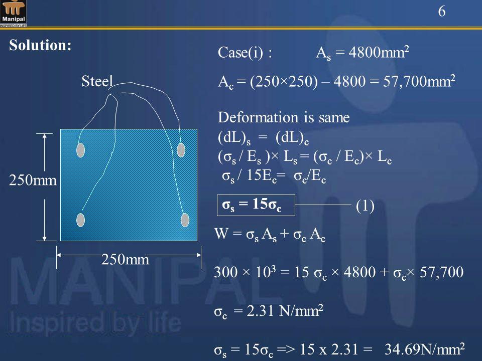 6Solution: Case(i) : As = 4800mm2. Ac = (250×250) – 4800 = 57,700mm2. 250mm. Steel. Deformation is same.