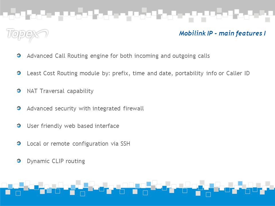 Mobilink IP - main features I