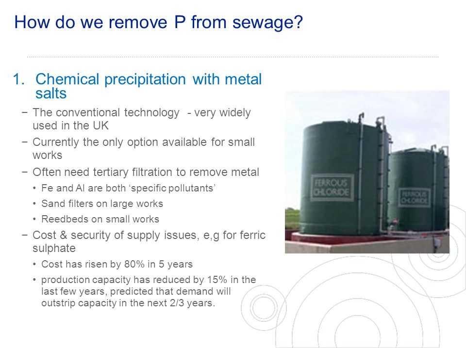 How do we remove P from sewage