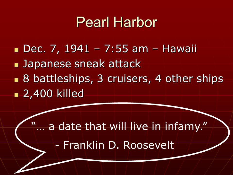 Pearl Harbor Dec. 7, 1941 – 7:55 am – Hawaii Japanese sneak attack