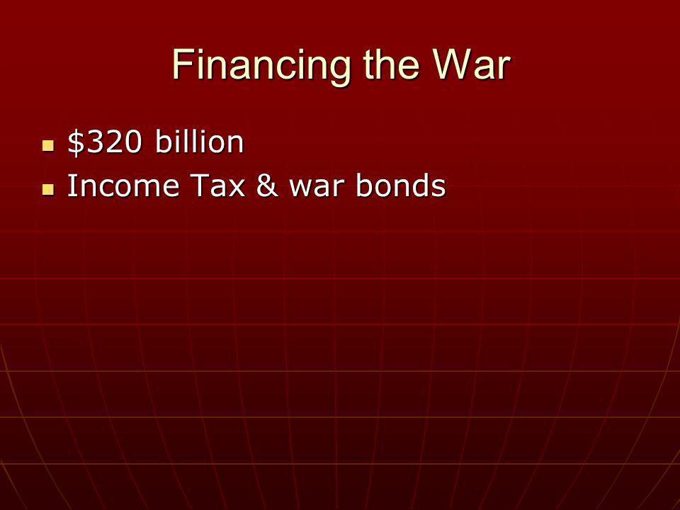 Financing the War $320 billion Income Tax & war bonds