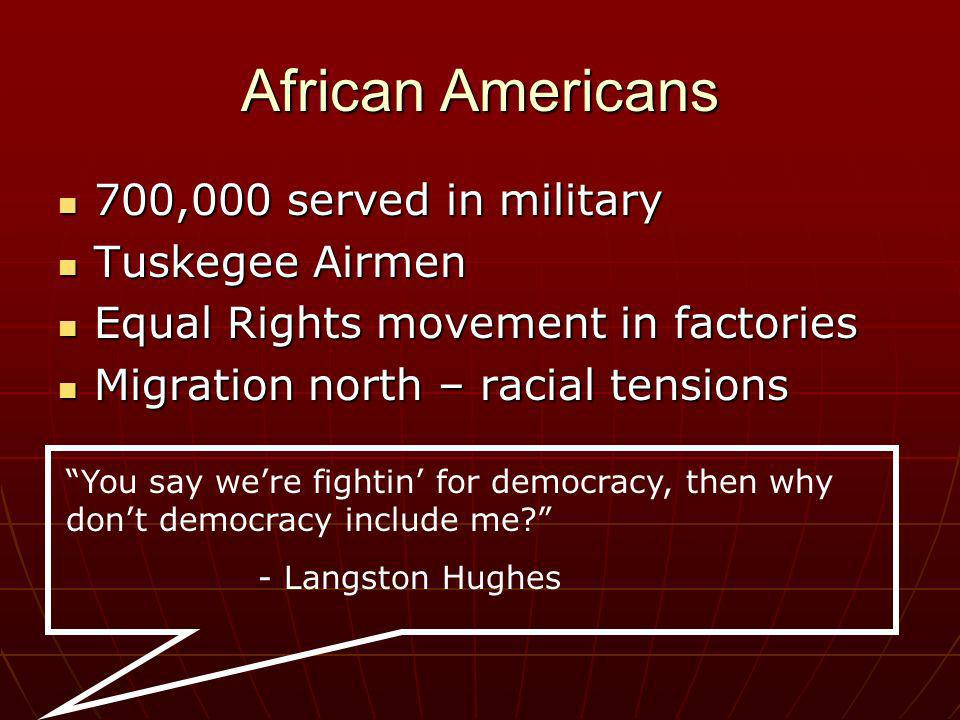 African Americans 700,000 served in military Tuskegee Airmen