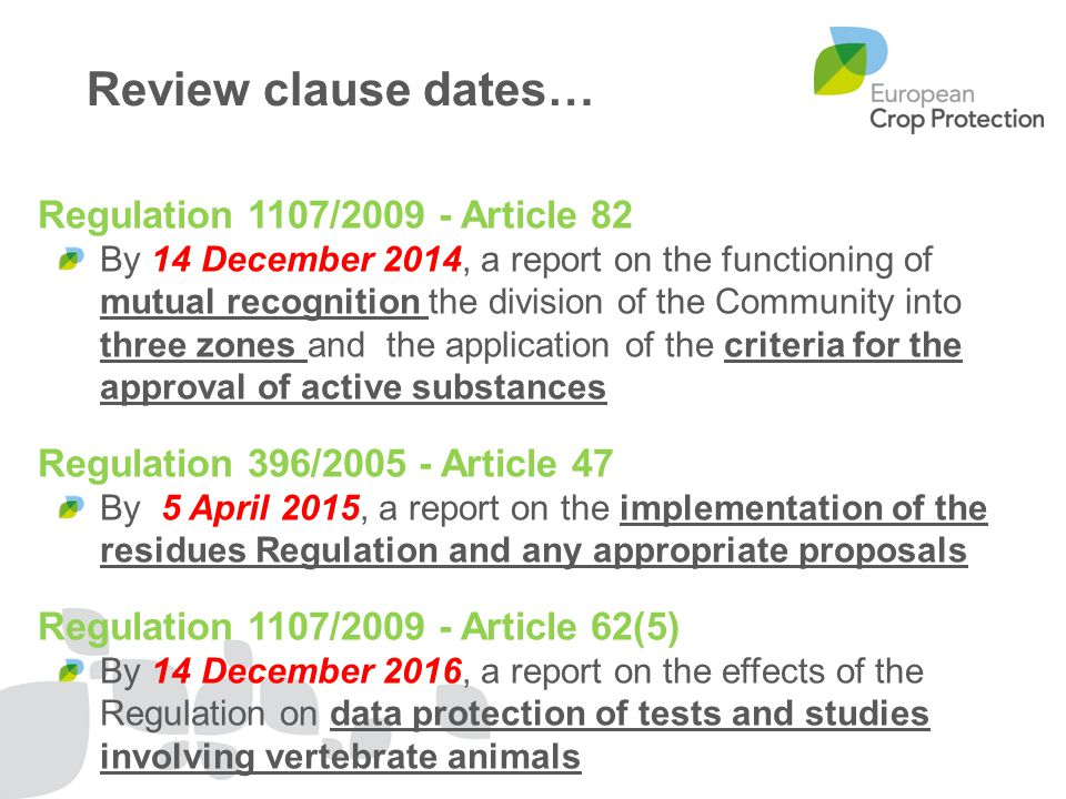 Review clause dates… Regulation 1107/2009 - Article 82