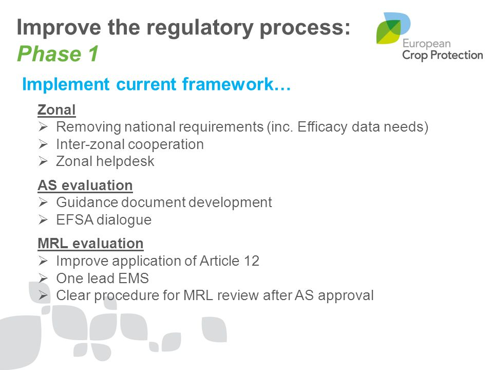 Improve the regulatory process: Phase 1