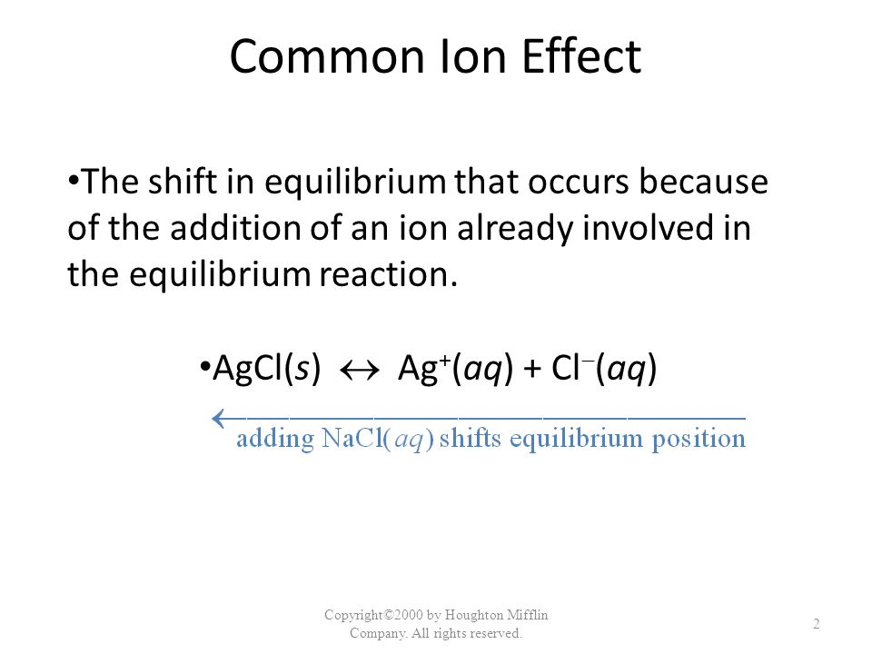 Common Ion Effect The shift in equilibrium that occurs because of the addition of an ion already involved in the equilibrium reaction.