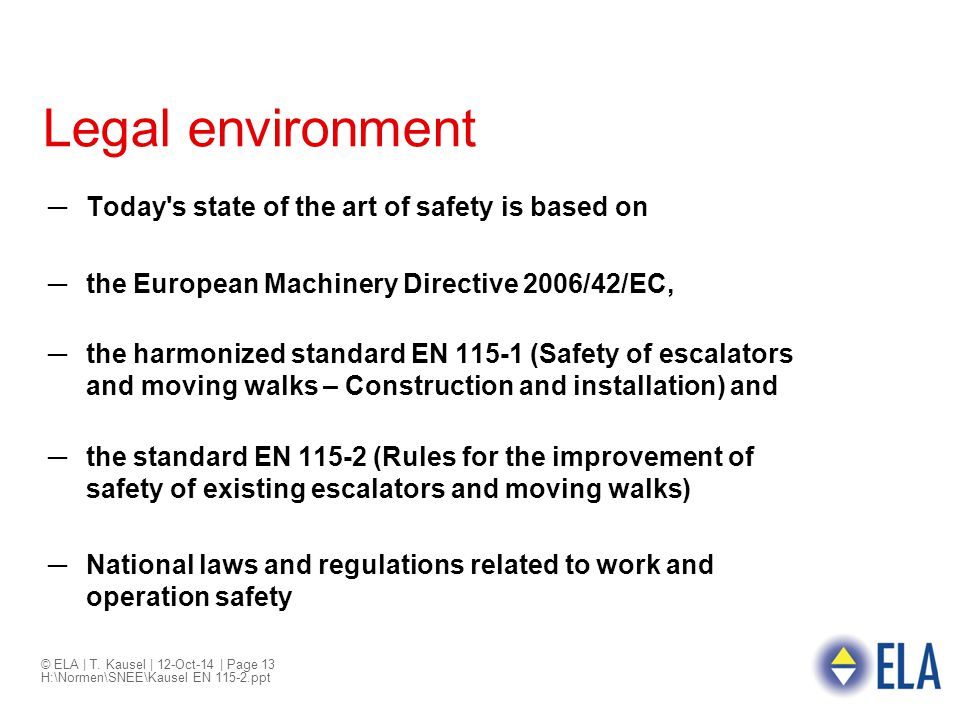 Legal environment Today s state of the art of safety is based on