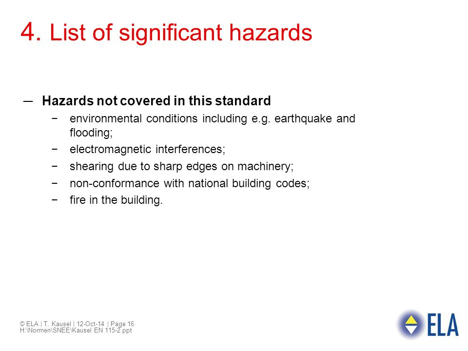 4. List of significant hazards