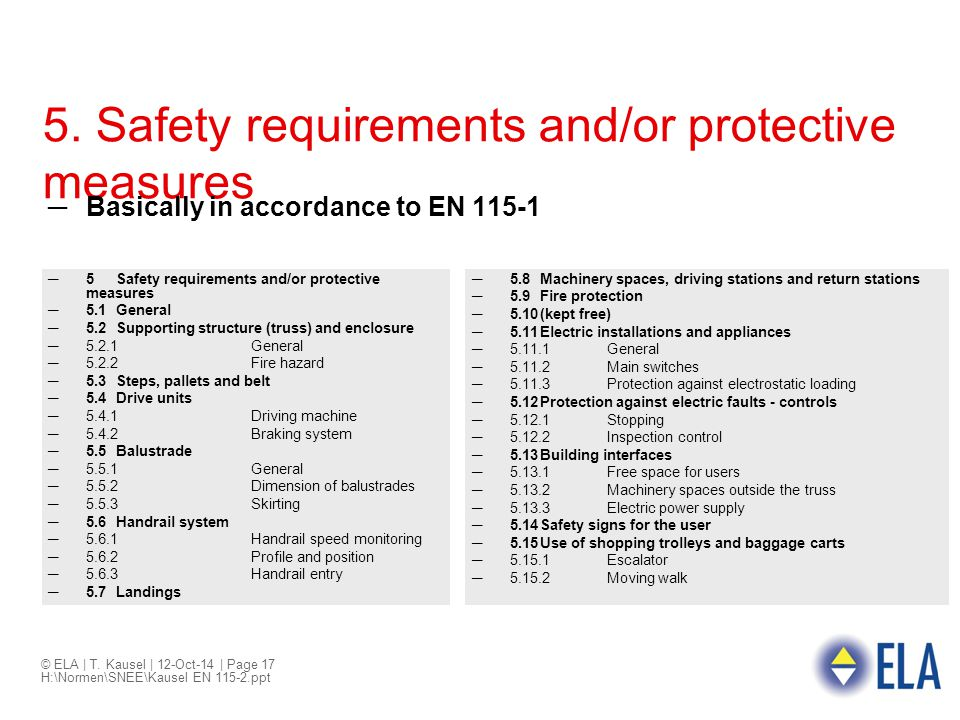 5. Safety requirements and/or protective measures