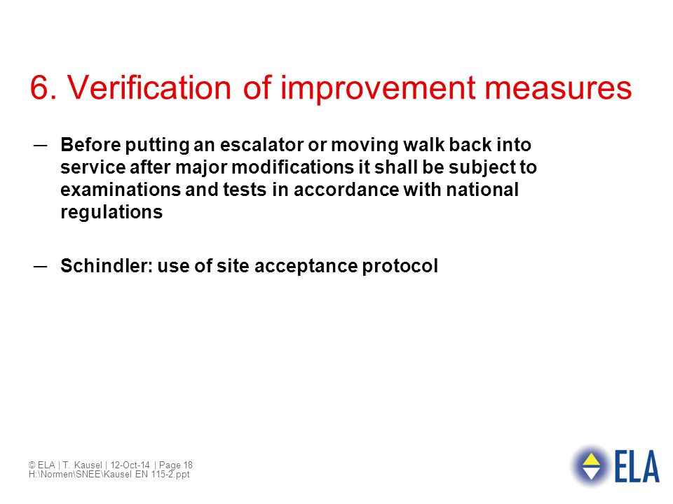 6. Verification of improvement measures