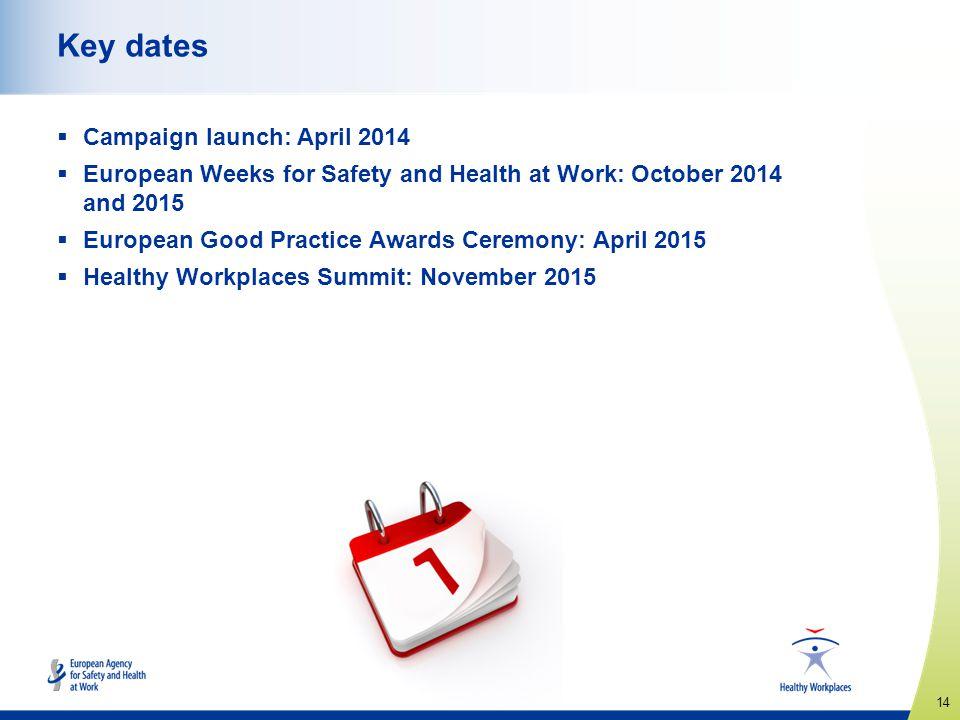 Key dates Campaign launch: April 2014
