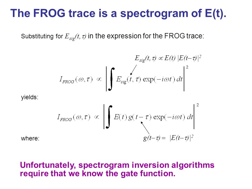 The FROG trace is a spectrogram of E(t).