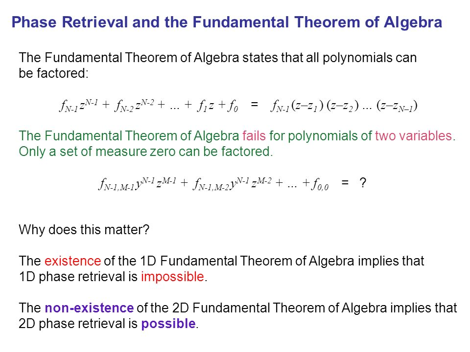 Phase Retrieval and the Fundamental Theorem of Algebra