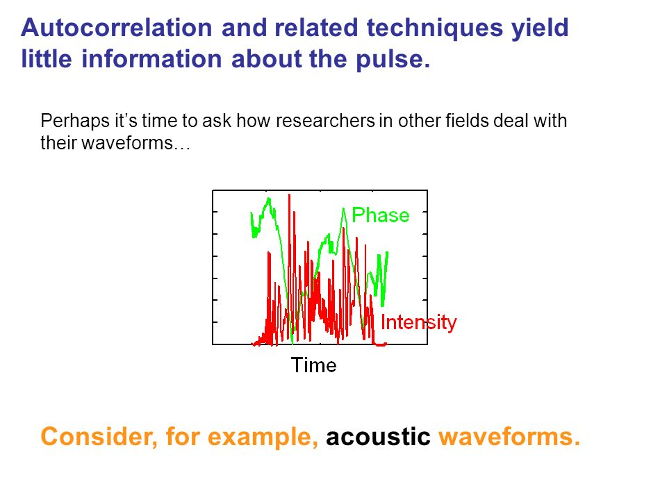 Consider, for example, acoustic waveforms.
