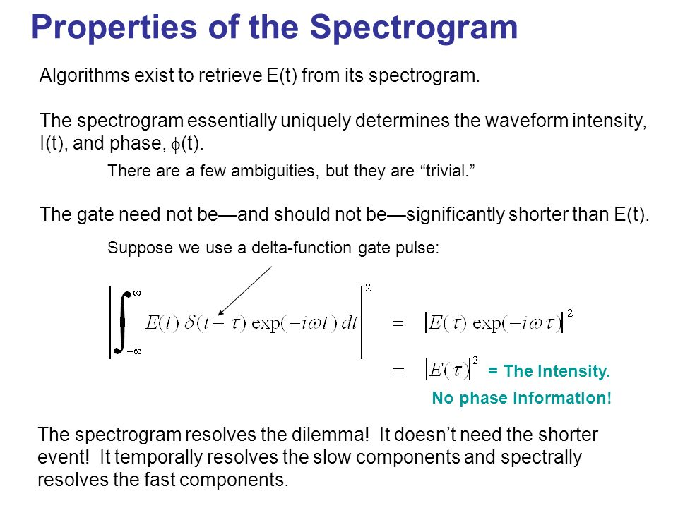 Properties of the Spectrogram