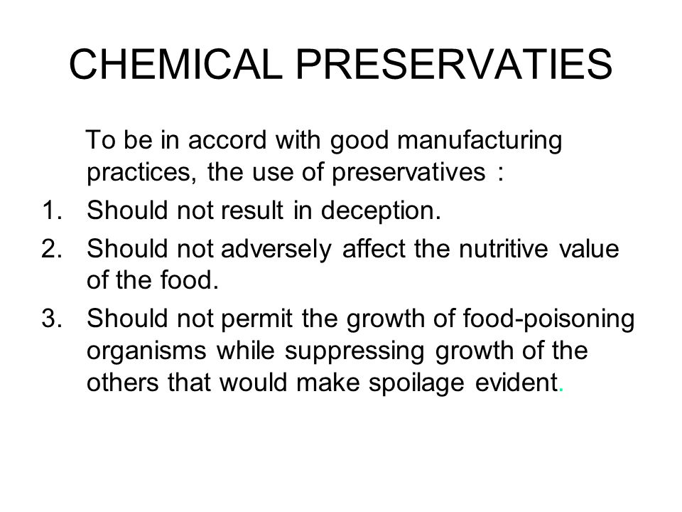 CHEMICAL PRESERVATIES