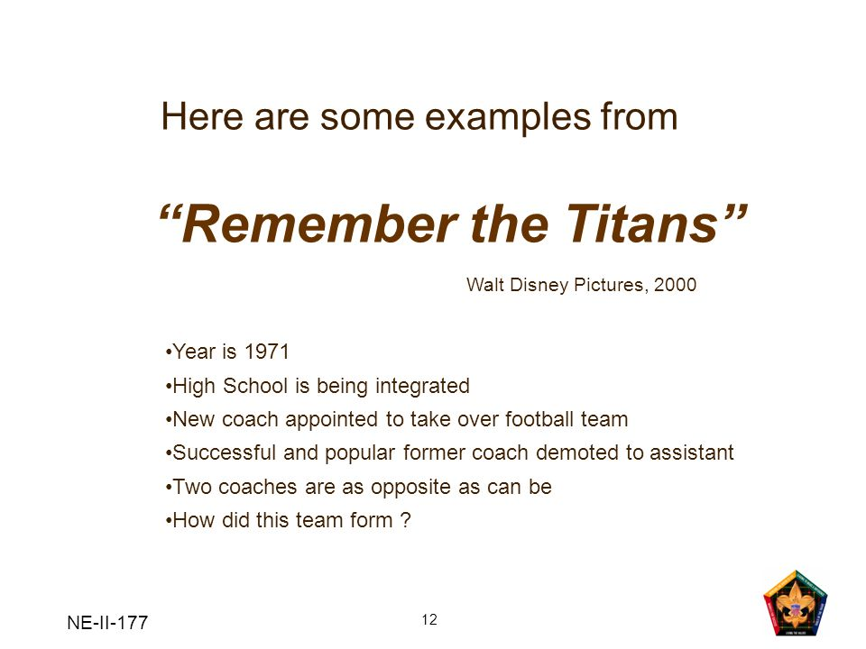 Remember the Titans Here are some examples from Year is 1971