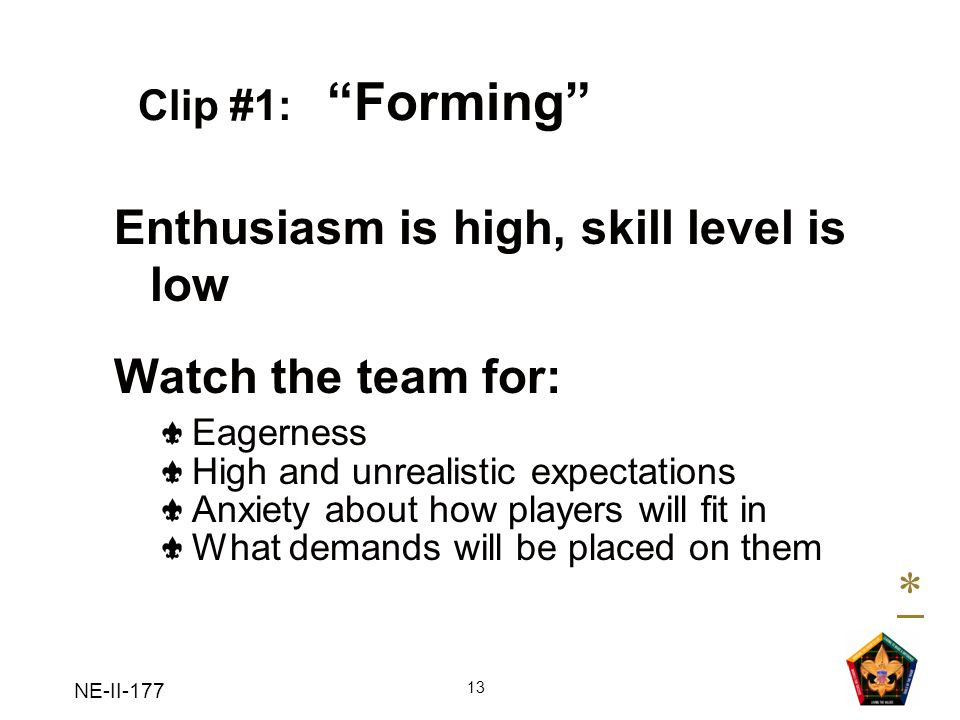 * Enthusiasm is high, skill level is low Watch the team for: