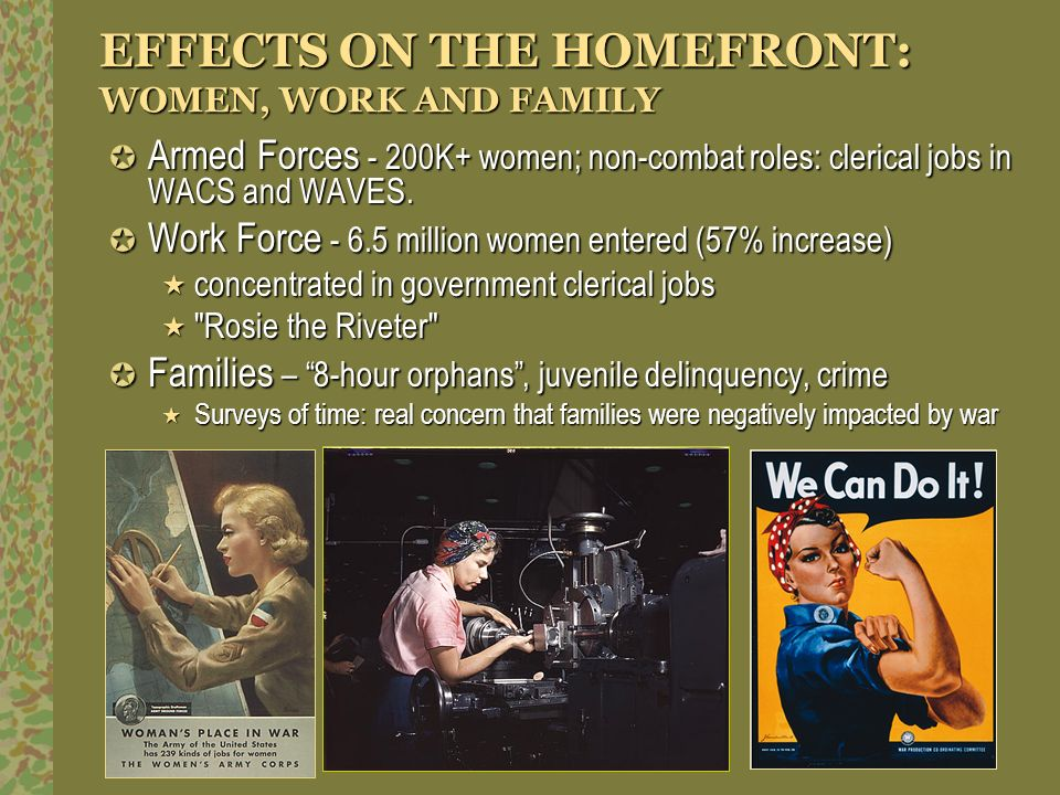 EFFECTS ON THE HOMEFRONT: WOMEN, WORK AND FAMILY