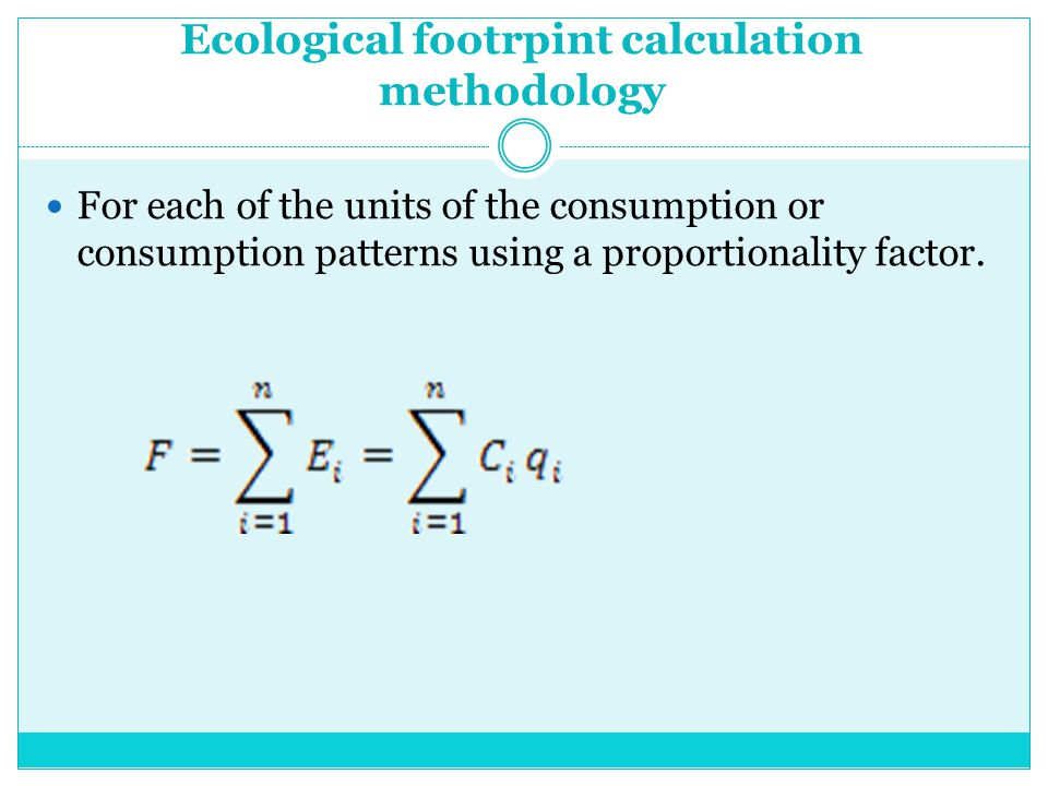 Ecological footrpint calculation methodology