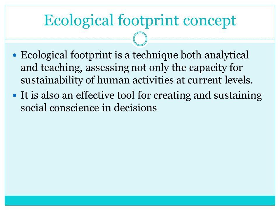 Ecological footprint concept