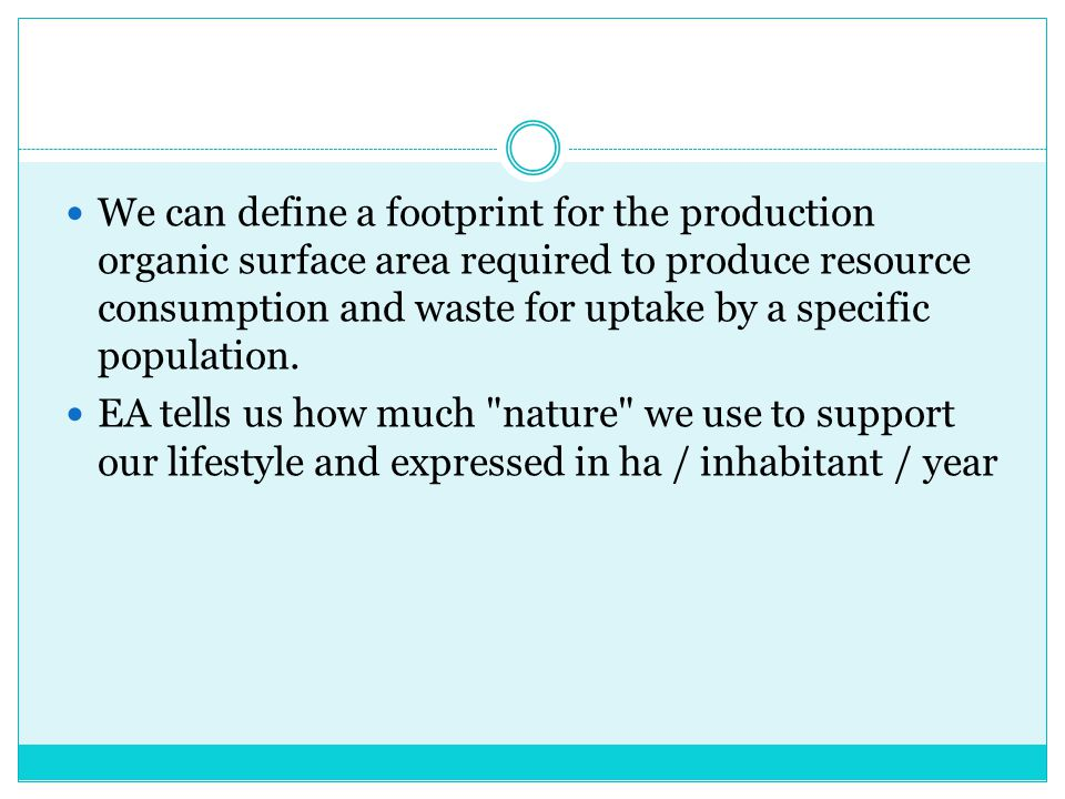 We can define a footprint for the production organic surface area required to produce resource consumption and waste for uptake by a specific population.