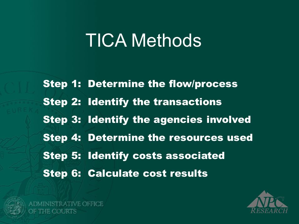 TICA Methods Step 1: Determine the flow/process