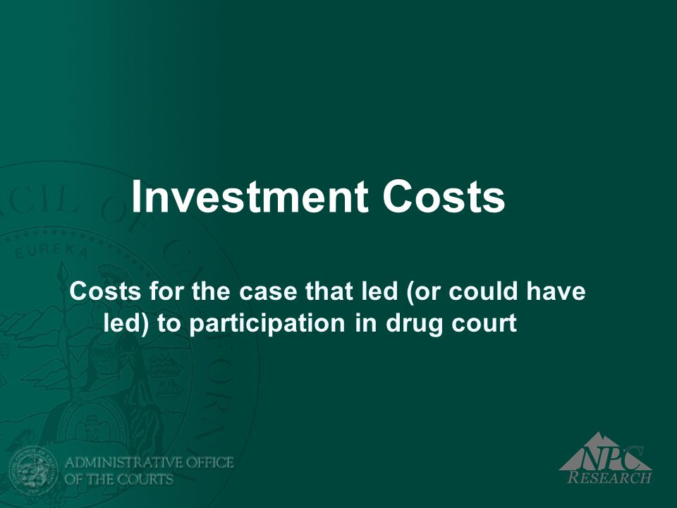 Investment Costs Costs for the case that led (or could have led) to participation in drug court