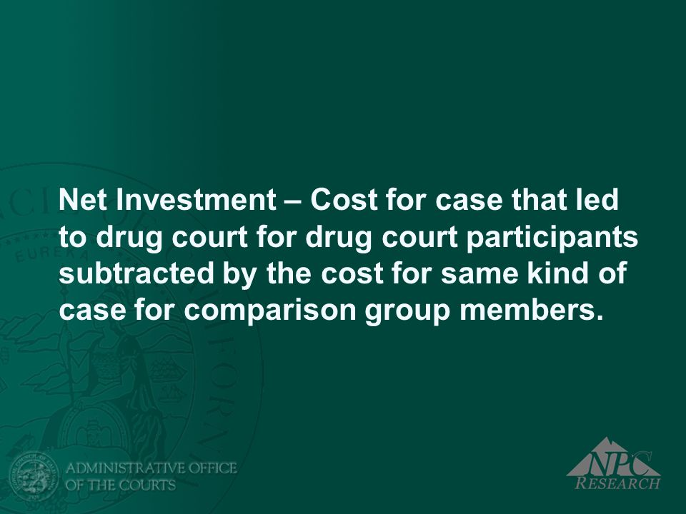 Net Investment – Cost for case that led to drug court for drug court participants subtracted by the cost for same kind of case for comparison group members.