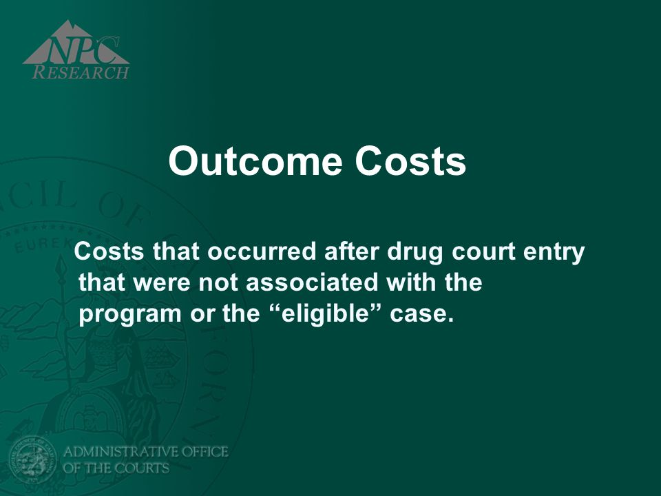 Outcome Costs Costs that occurred after drug court entry that were not associated with the program or the eligible case.
