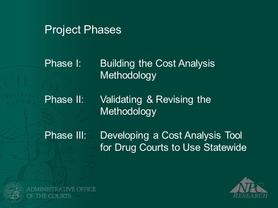 Project Phases Phase I: Building the Cost Analysis Methodology