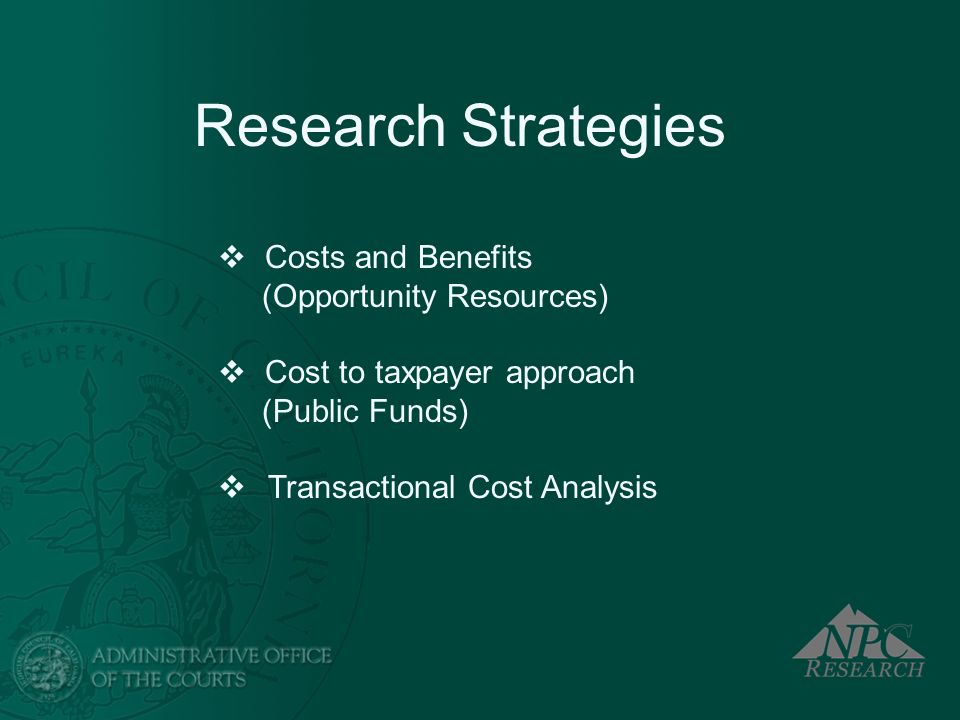 Research Strategies Costs and Benefits (Opportunity Resources)